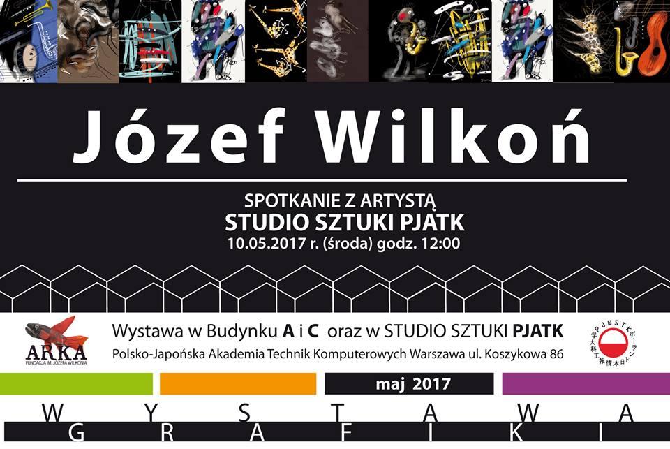 Wystawa komputerowych prac Józefa Wilkonia w Polsko Japońskiej Akademii Technik Komputerowych, maj 2017