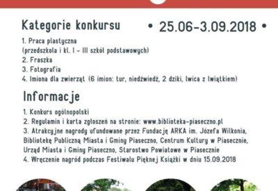 """Ogólnopolski Konkurs """"Piaseczyńskie rzeźby Józefa Wilkonia"""" 25.06-3.09.2018"""